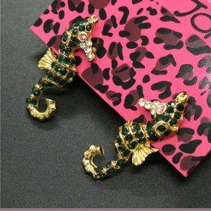 Betsey Johnson Green Cute Seahorse Earrings